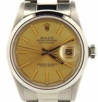 Rolex Datejust Mens Stainless Steel Watch Oyster w/ Gold Champagne Dial 16030