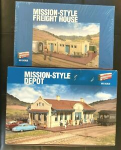 Walthers HO Cornerstone Mission Style Depot and Freight House 2 kits