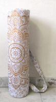 White Gold Mandala Yoga Mat Carrier Bag Hippie Cotton Bags With Shoulder Strap