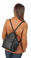 Womens REAL LEATHER Backpack Rucksack Black Brown Work Travel Walking Hiking BAG
