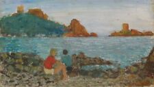 """Vintage French Oil Painting, Children, Provence Beach, """"Operation Dragoon"""" WWII"""