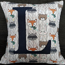 CHILDS PERSONALISED GREY BLUE ANIMALS  INITIAL LETTER CUSHION PILLOW COVER