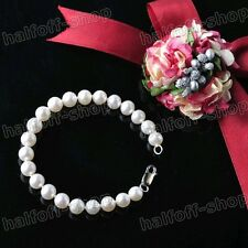 Lovely 7-8MM WHITE NATURAL AAA+ PEARL BRACELET 925S CLASP 7.5inch JEWELRY