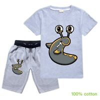 Children Kids Boys Girls SLOGOMAN HOODY Summer T-Shirt Tee Top+Pants Costume