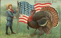 Patriotic Thanksgiving Boy w/ Axe & American Flag Turkey c1910 Postcard