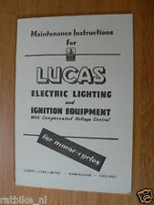 LUCAS ELECTRIC LIGHTNING AND IGNITION EQUIPMENT INSTRUCTIONS 820F