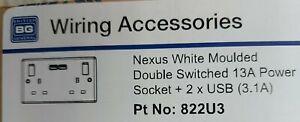 BG NEXUS 2*USB 3.1amp 2G SWITCH SOCKET WHITE 822U3