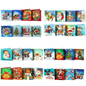 8pcs 5D DIY Diamond Painting Embroidery Christmas Greeting Card Wedding Party