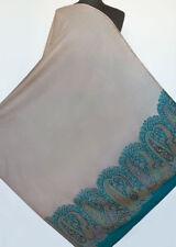 Large, Kani, Jamavar, Wool Shawl. Intricate Border. Turquoise & Beige Paisley