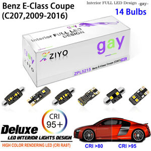 14 Bulbs LED Interior Light Kit Cool White For C207 Mercedes Benz E-Class Coupe