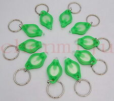 100pcs Mini white light 22000mcd Green LED Flashlight Keychain Torch Gift Toys