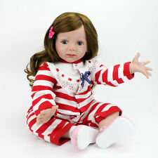 Reborn Toddler Baby Doll 24'' Soft Vinyl Silicone Long Curly Hair Red Stripe Kid