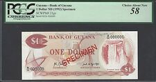 Guyana One Dollar ND(1992) P21gs Specimen About  Uncirculated