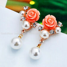 Exquisite Diamante Rose Flower Pearl Bead Dangle Gold Plated Earrings Ear Studs