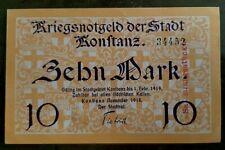 Konstanz a. Bodensee 10 Mark Stadt mit Trockenstempel November 1918 TOP !!!!