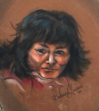 Vintage Portrait Painting N American Man Signed Barbara A Lawrence '80