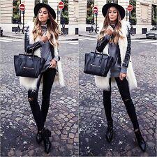 Zara Long White Ivory Sleeveless Fur Coat Vest Waistcoat NEW A/W 2016 MEDIUM