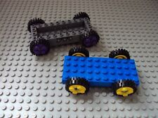 Lego Minifig ~ Lot Of 2 Car frames/Chassis With Wheels Car Truck Parts #bny6