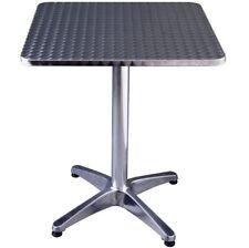 Aluminium Silver Square Table Pub Cafe Bar Garden Outdoor Bistro Patio Furniture