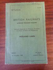 British Railways LONDON MIDLAND REGION  APPENDIX TO WORKING TIMETABLE Derby 1960