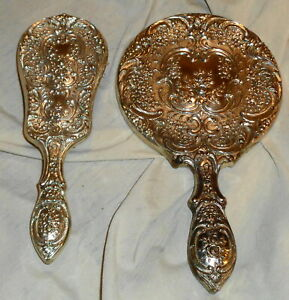 Antique Hand Held Vanity Mirror and Brush Take a LOOK !!!!!!!!!