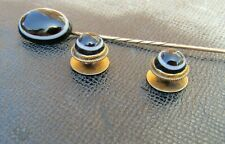 Antique Victorian Banded Agate stick pin Collar Studs Gold metal.