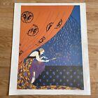 """Vtg. Erte FALL Print Unframed Art Deco Lady 21"""" X 17"""""""
