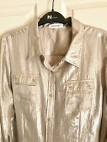 Calvin Klein Blouse Metallic Silver Long Sleeves Large Excellent Free Shipping