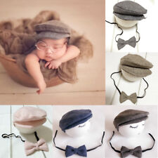 Cute Newborn Baby Boy Girl Peaked Flat Cap Beanie Hat Bow Tie Set Photo Prop New