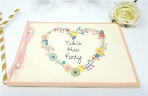Personalised Guest Book Memory Hen Night Party Do Wedding Bunting Floral Ivory