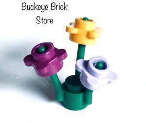 NEW Lego Plant - MAGENTA, LAVENDER & Bright Light ORANGE FLOWERS