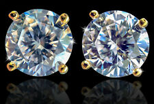 4 ct tw Earrings Top Extra Brilliant CZ Moissanite Simulant 14kt over SS