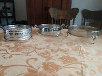 Set Of Three Vintage Silver Plate Casserole Dish Holders