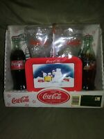 Coca Cola Glasses Coke Bottles Gift Set with metal Tray/Opener 1997 NIP Vintage
