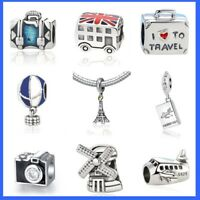 Love to travel 925 Sterling Silver Charms London Eiffel Pandora bracelets Charms