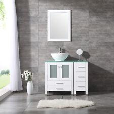 """36"""" Round Ceramic Sink Bathroom Vanity Cabinet Solid Wood Modern Design w/Mirror"""