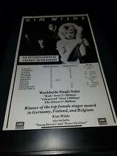 Kim Wilde Kids In America Rare Original Radio Promo Poster Ad Framed!