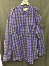 2 XXL Vintage Galaxy Patrol Long Sleeve Check Button Shirt Grey Black Purple Y3