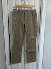 Women's Tribal Pants Size 10 Gold Brown Slim Straight