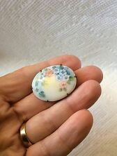 Old Victorian Handpainted Flower Porcelain Brooch Pin