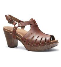 Dansko Randa Slingback Sandals Womens Brown Brandy Leather High Heel Size 41 New