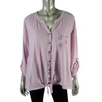 Style & Co Womens Slub Knit Top Plus Size 2X Tie Front Button Up Cotton Purple