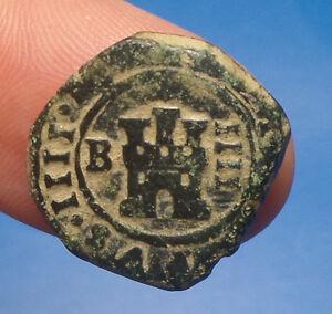 pirate treasure Philip IV 1622-1655 4 maravedis Spanish colonial coin Burgos