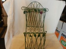 Vintage Green Metal Wire Mail Letter Holder for Wall with Rose and Leaves