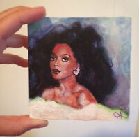 Diana Ross of The Supremes Acrylic Painting Artwork 4x4 FineArts PopArt