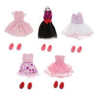5 Set Adorable 16cm Girl Doll Dress Clothing Shoes Set BJD Doll Dress up Accs