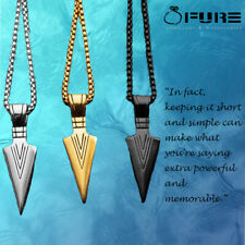 Fashion Stainless Steel Gold Color Arrow Head Pendant Long Chain Necklace Men
