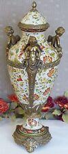 XL Deckelvase Engel Prunkgefäß Porzellan Urne Bronze Vase Antik Amphore Craquele
