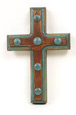Santa Fe Rustic Cross--Mexican Folk Art-8x12-Clavos-Turquoise & Brown-Handmade