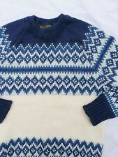 NORDSTRIKK Norwegian Norway ivory blue Fair Isle wool ski sweater SMALL